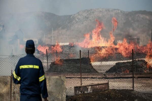 Υπό έλεγχο η φωτιά σε εργοστάσιο ξυλείας στον Ασπρόπυργο