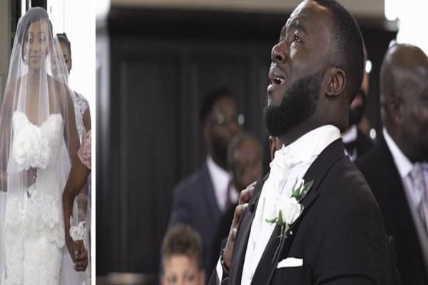 Γαμπρός ξεσπάει σε λυγμούς όταν βλέπει τη νύφη - Μόλις φτάνει στο πλάι του... (Video)