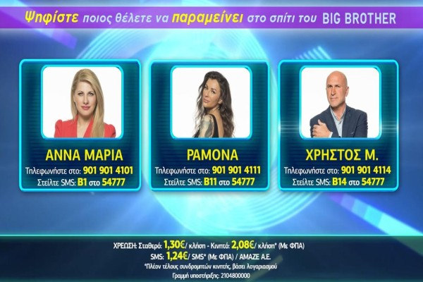 Big Brother ψηφοφορία: Ποιος παίκτης θέλετε να παραμείνει στο σπίτι; (13/11)