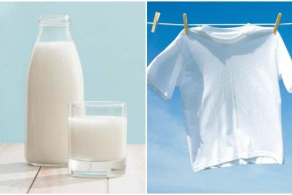 Γέμισε ένα μπολ με γάλα και παγάκια και βούτηξε μέσα τα ρούχα - Το αποτέλεσμα; Απίστευτο