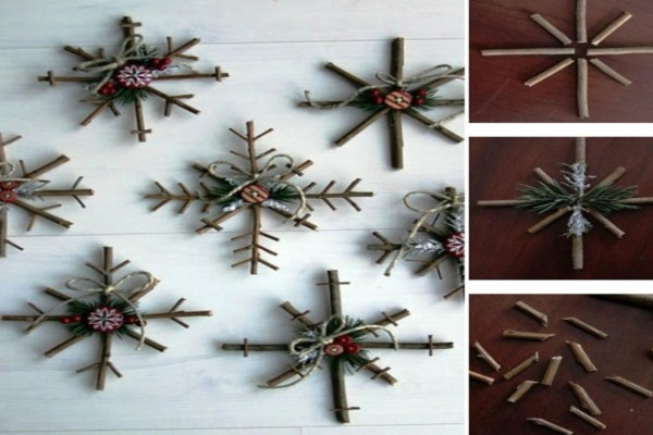 Χριστουγεννιάτικα στολίδια με φυσικά υλικά, κλαδιά και πεύκο