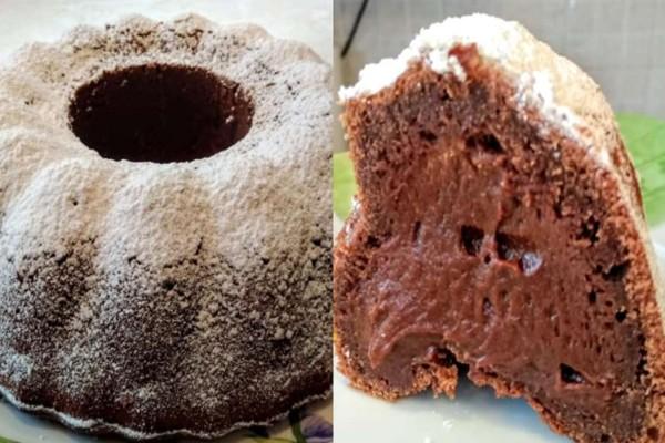 Υγρό κέικ γεμιστό με σοκολάτα και άχνη ζάχαρη έτοιμο στο τσακ μπαμ