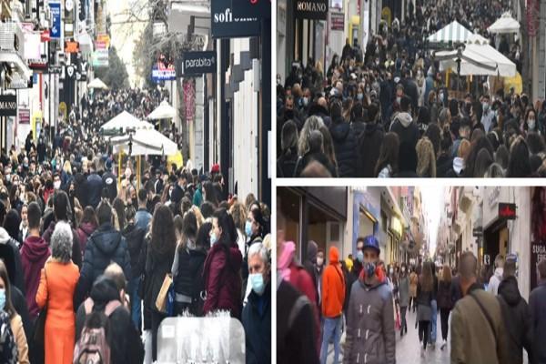Κορωνοϊός: Ποιο lockdown; Κοσμοπλημμύρα στους δρόμους σε Αθήνα-Θεσσαλονίκη - Ουρές και συνωστισμός στα καταστήματα (Video)