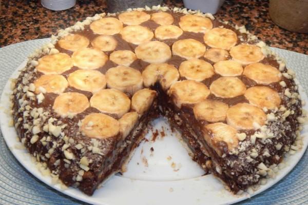 Σοκολατένιο μπισκοτόγλυκο με μπανάνες σκέτη κόλαση!