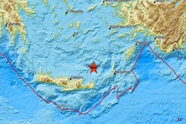 Σεισμός ανάμεσα στην Κρήτη και την Κάσο