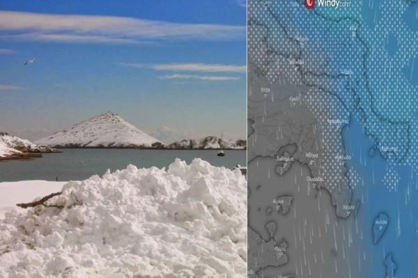 Μισό μέτρο χιόνι σε Μαραθώνα, Ραφήνα, Λούτσα, Πόρτο Ράφτη - Live τι δείχνει ο δορυφόρος για χιόνια στην Αττική!