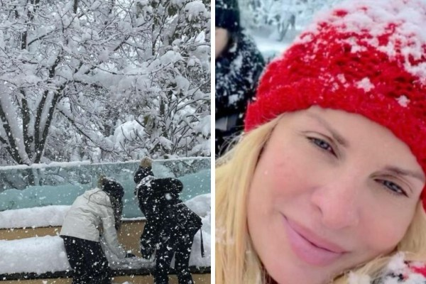 Ελένη Μενεγάκη: Φωτογραφίες από... το χιονοπόλεμο με τον Ματέο Παντζόπουλο και τα παιδιά