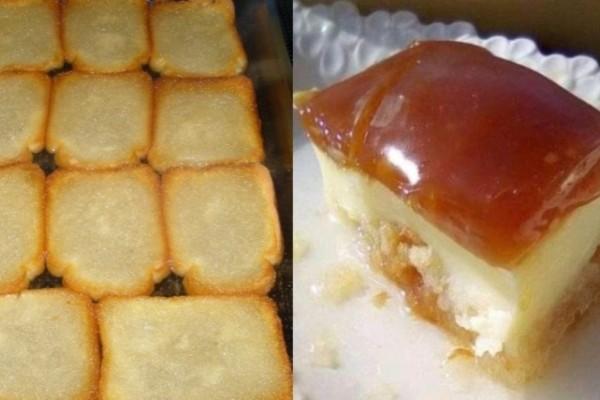 Συνταγή της μαμάς: Το πιο εύκολο και νόστιμο γλυκό με φρυγανιές, κρέμα και καραμέλα!