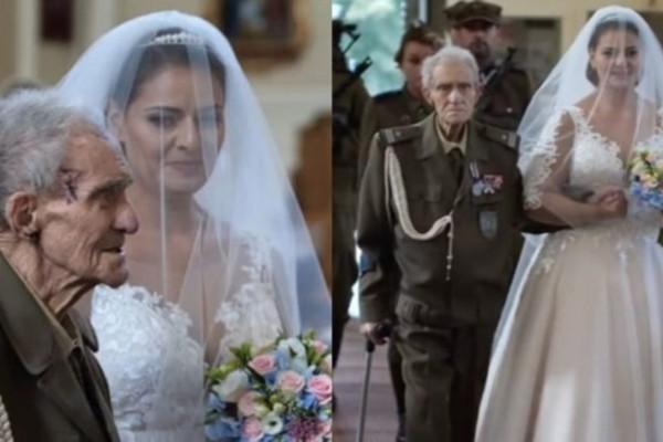 94χρονος παππούς συνόδευσε την εγγονή του στο γάμο της και... Απίστευτο! (Video)