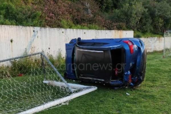 Κρήτη: Αυτοκίνητο έπεσε μέσα σε γήπεδο ποδοσφαίρου