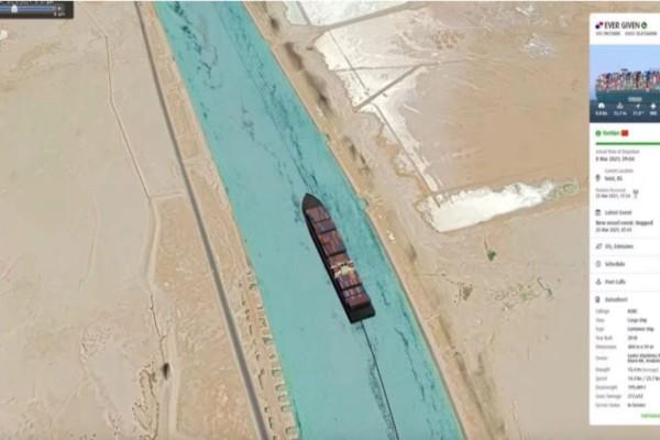 Διώρυγα του Σουέζ: Καρέ καρέ η προσάραξη του Ever Given (Video)