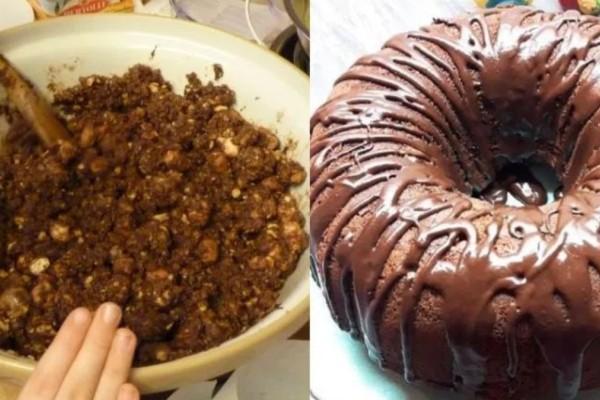 Εύκολο κέικ σοκολάτας με μπισκότα και πραλίνα φουντουκιού