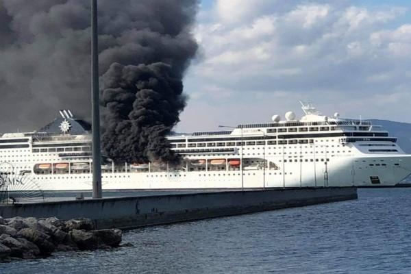 Κέρκυρα: Φωτιά τώρα σε κρουαζιερόπλοιο! (Video)