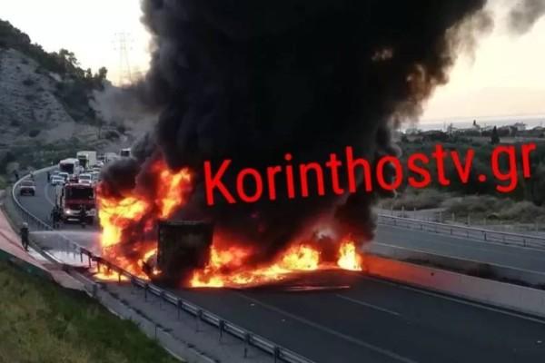 Σοκ την Κορίνθου-Πατρών: Νταλίκα τυλίχθηκε στις φλόγες!