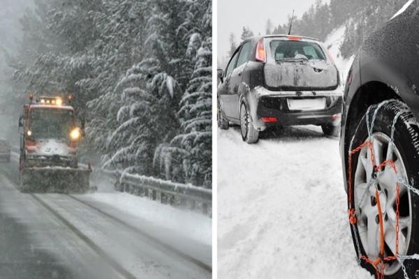 Καιρός: Χιόνια στα Γρεβενά - Που είναι απαραίτητες οι αντιολισθητικές αλυσίδες