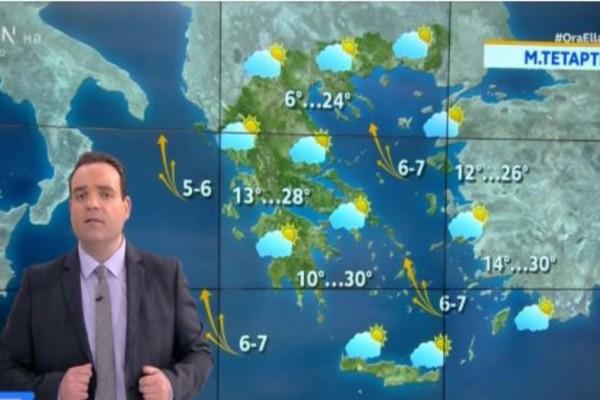 Κλέαρχος Μαρουσάκης: «Μέχρι 34 βαθμούς Κελσίου θα φτάσει η θερμοκρασία»