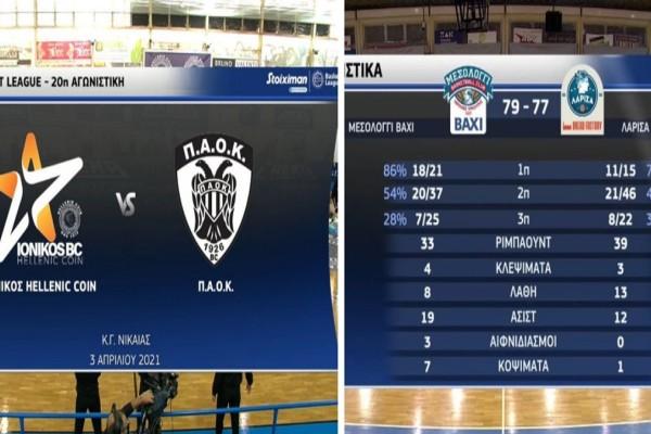 Basket League: Μεγάλο διπλό για ΠΑΟΚ στη Νίκαια - Νίκη-θρίλερ με τρίποντο στο φινάλε για Μεσολόγγι (Video)