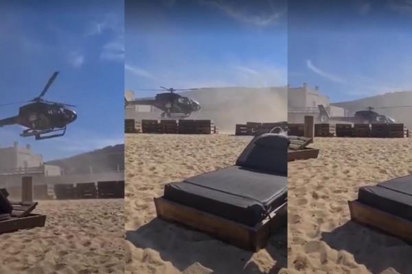 Δεν πίστευαν στα μάτια τους: Επιχειρηματίας προσγειώθηκε με ελικόπτερο σε beach bar (VIDEO)