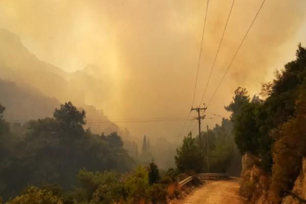 Φωτιά στη Σάμο: Προληπτική εκκένωση δύο ξενοδοχείων! Ο ουρανός έγινε πορτοκαλί από τον καπνό (photo)