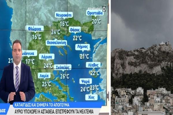 Καιρός σήμερα 20/7: Ζέστη αλλά και τοπικές καταιγίδες - Που θα είναι έντονα τα φαινόμενα σύμφωνα με τον Μαρουσάκη (Video)
