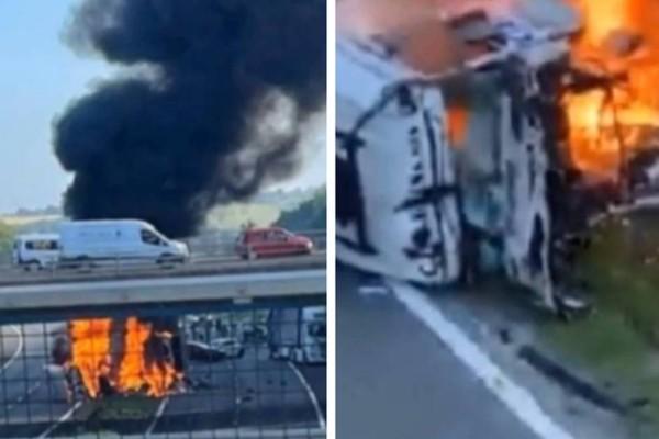 Τροχαίο σοκ: Νταλίκα έπεσε από γέφυρα πάνω σε αυτοκίνητα και εξερράγη - Φόβοι για πολλούς νεκρούς