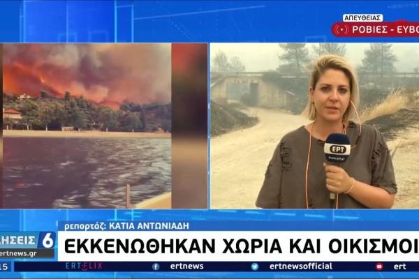 Φωτιά στην Εύβοια: Η στιγμή που δημοσιογράφος καταρρέει για την καταστροφή