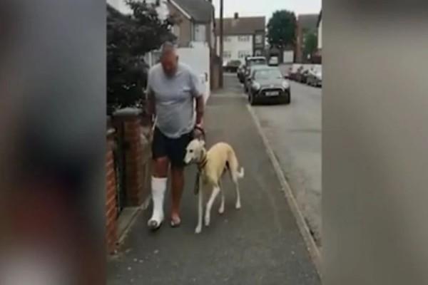 Απίστευτος σκύλος! Κούτσαινε από συμπόνοια για τον ιδιοκτήτη του που είχε γύψο