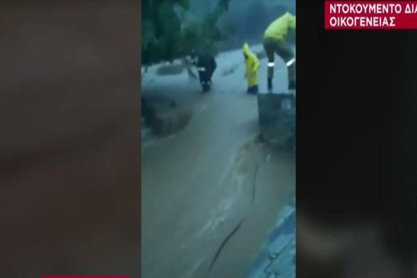 Κακοκαιρία «Μπάλλος»: Η συγκλονιστική διάσωση οικογένειας από τα ορμητικά νερά στην Εύβοια (Video)