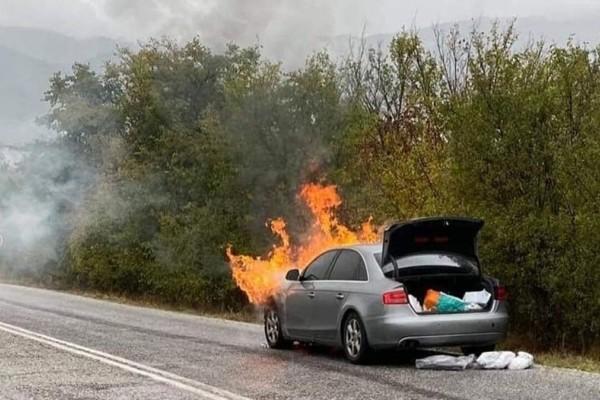 Θρίλερ για τον Παναγιώτη Ψωμιάδη: Στις φλόγες το αυτοκίνητο του ενώ οδηγούσε (photos)
