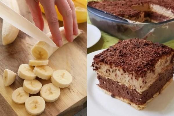 Εύκολο γλυκό ψυγείου με μπανάνα και σοκολάτα