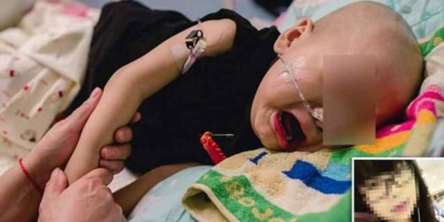 Μωράκι που πάσχει από καρκίνο κλαίει και θέλει τη μαμά του χωρίς να ξέρει ότι το εγκατέλειψε λόγω της ασθένειας του