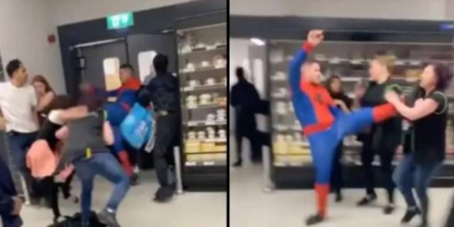 Απίστευτο ξύλο σε σούπερ μάρκετ: Μπήκε ντυμένος Spiderman και μοίραζε μπουνιές και κλωτσιές!