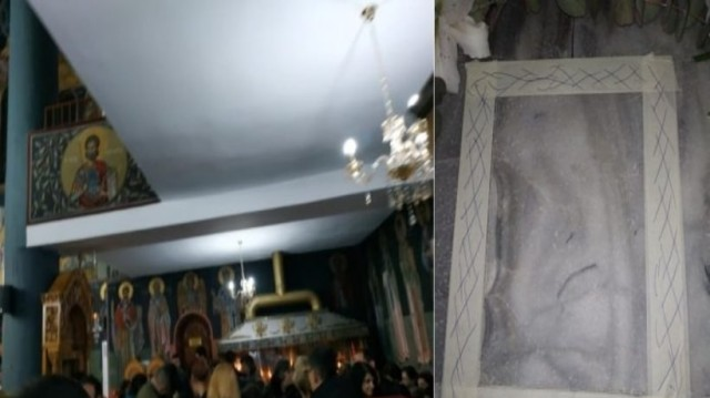 Ασπροβάλτα: Πλήθος πιστών μιλούν για θαύμα με μορφή που σχηματίστηκε στο πάτωμα εκκλησίας!