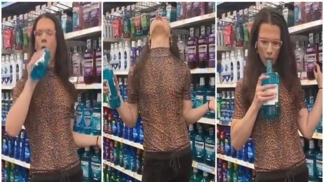 Σοκ: Γυναίκα σε σούπερ μάρκετ, κάνει γαργάρα το Listerine, το φτύνει στο μπουκάλι και το βάζει πίσω στο ράφι! (Video)