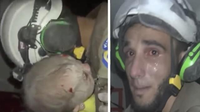 Έσκαβε για ώρες στα συντρίμμια για να σώσει ένα μωρό. Η αντίδρασή του όταν το έσωσε θα σας συγκινήσει! (Video)