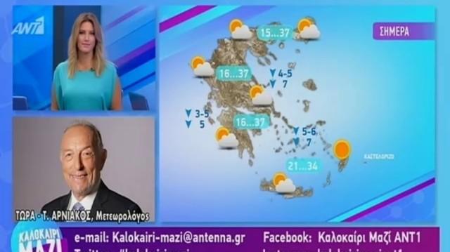 Τάσος Αρνιακός: Μέχρι τους 37 βαθμούς η θερμοκρασία! Συνεχίζονται τα μελτέμια! (Video)