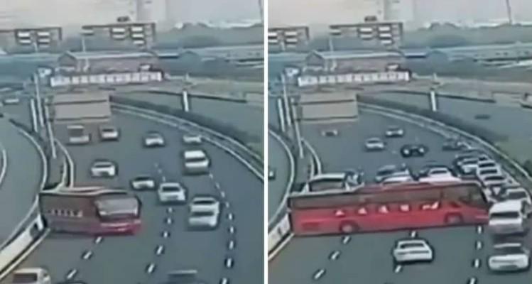 Το απόλυτο χάος: Οδηγός λεωφορείου κάνει... αναστροφή στην εθνική οδό! (video)