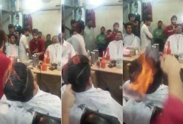Ο Πακιστανός κομμωτής που έριξε το Facebook: Κουρεύει βάζοντας φωτιά στα μαλλιά! (Βίντεο)