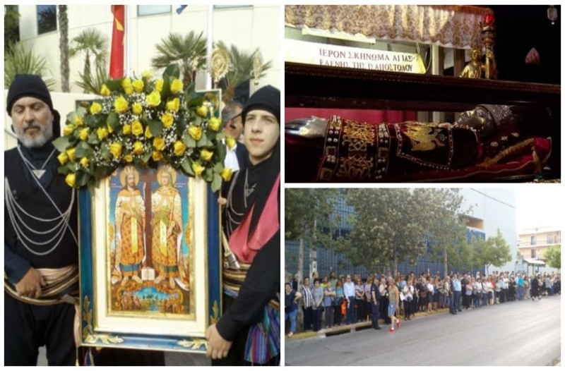 Για πρώτη φορά στην Αθήνα το σκήνωμα της Αγίας Ελένης: Ουρά πιστών στο Αιγάλεω! (photos)