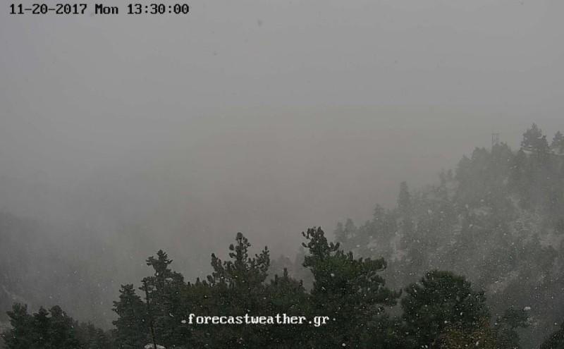 Τώρα: Χιονίζει στην Πάρνηθα! (photos)