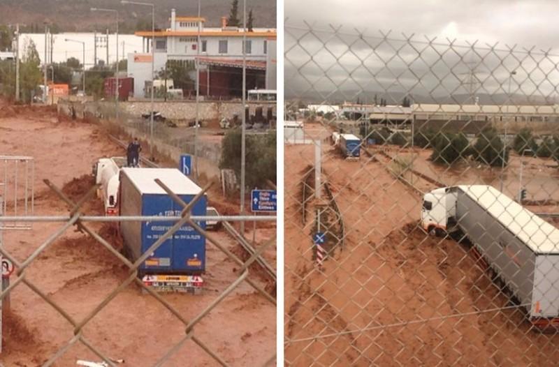 Θρίλερ από την κακοκαιρία στη Νέα Πέραμο: Ανέβηκαν στα φορτηγά για να μην πνιγούν! (photos+videos)