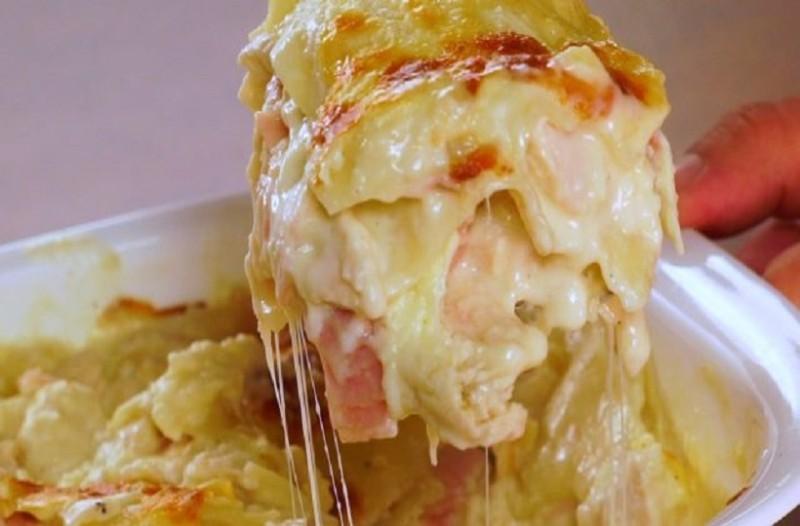 Ένα γρήγορο και νόστιμο φαγητό: Λαζάνια με κοτόπουλο και τυριά!