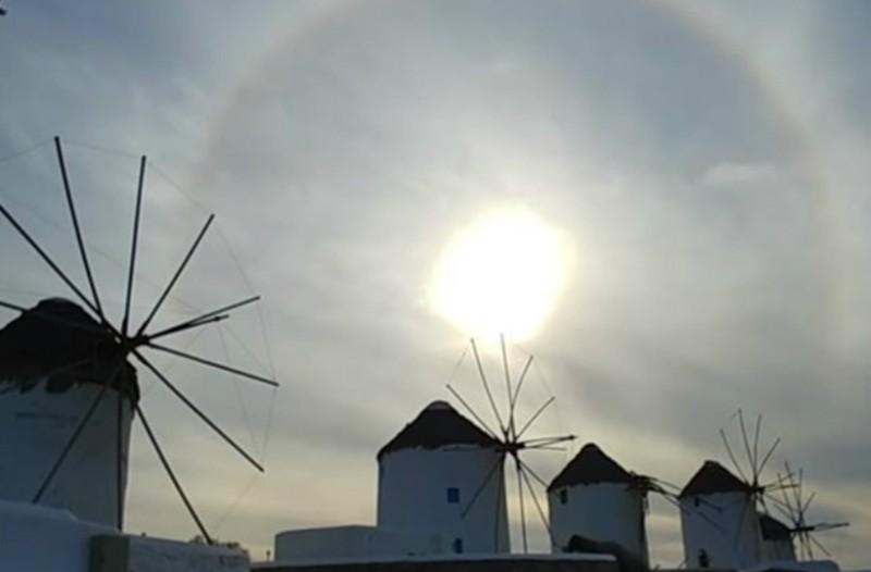 Μοναδικό θέαμα: Το κυκλικό ουράνιο τόξο που σχηματίστηκε στη Μύκονο (video)