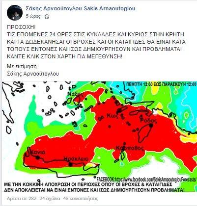 Έκτακτη προειδοποίηση για τον καιρό από τον Σάκη Αρναούτογλου!