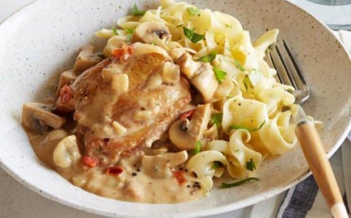 Κοτόπουλο με χυλοπίτες σε σάλτσα μουστάρδας με μανιτάρια!