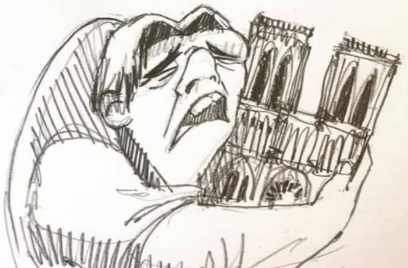 Παναγιά των Παρισίων: Τα δάκρυα του Κουασιμόδου για την καταστροφή! Η φωτογραφία που έγινε viral