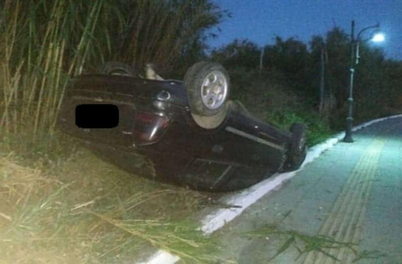 Κρήτη: Αναποδογύρισε αυτοκίνητο αλλά ο οδηγός είχε Άγιο!