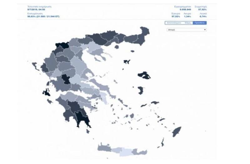 Εκλογές 2019: Ο χάρτης της αποχής! Οι περιοχές με τα μεγαλύτερα ποσοστά