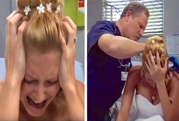 Μία νύφη συμπεριφέρθηκε σαν μανιακή την ημέρα του γάμου της. Όταν ο γιατρός κοίταξε στο πίσω μέρος του κεφαλιού της έπαθε εγκεφαλικό!