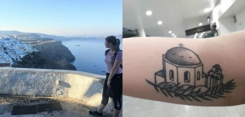 Τουρίστρια έκανε τατουάζ εκκλησάκι της Σαντορίνης!